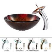 Mercury Glass Vessel Sink and Waterfall Faucet