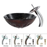 Magma Glass Vessel Sink with Waterfall Faucet