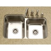 Medallion Classic Undermount Double Bowl 60/40 Kitchen Sink with Small Right Bowl in Satin