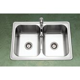Premiere Gourmet Topmount Double Bowl 50/50 Kitchen Sink in Satin