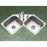 Legend Topmount Corner Bowl Kitchen Sink in Satin