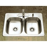 Glowtone Topmount Double Bowl 22 Gauge Kitchen Sink in Satin
