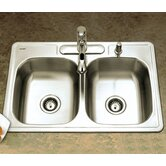 Glowtone Topmount Double Bowl 18 Gauge Kitchen Sink - ADA Compliant