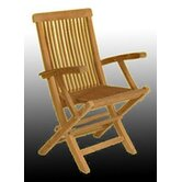 Solid Teak Classic Folding Dining Arm Chairs (Set of 2)