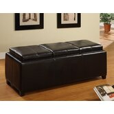 Norwich Leatherette 3-Flip Trays Ottoman Bench in Espresso