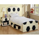 Sports Soccer Leather Panel Bedroom Collection