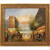 Paris Sunset Hand Painted Oil Canvas Art with Frame
