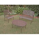 Santa Fe Iron Patio 3 Piece Lounge Seating Group