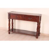 Carved Wood Rectangular Console Table