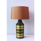 Striped Apollo Table Lamp in Olive with Gold Shade