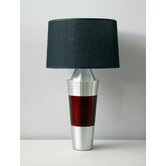 Uptown Gemini Table Lamp with Raku Band and Black Linen Shade