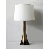Ostrich Table Lamp in Mocha Horizon with White Linen Shade