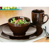 16 Piece Domus Plain Dinner Set in Dark Chocolate