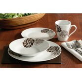 16 Piece Chocolate Flower Dinner Set Porcelain