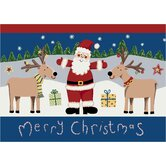 Winter Santa Deer Christmas Mat