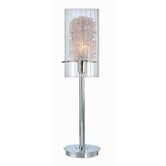 Torchiere Accent Lamp in Chrome with Clear Glass and Nested Aluminum Wire Accent