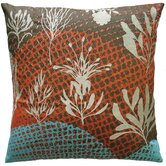 Ecco 20&quot; x 20&quot; Embroidered Pillow with Off White Leaves