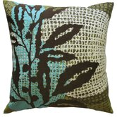 "Ecco 18"" x 18"" Embroidered Pillow with Brown Leaf"