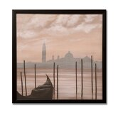 Sepia Venice Scene Framed Printed Canvas Art - 20&quot; X 20&quot;
