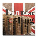 "Handpainted London Calling Printed Canvas Art - 28"" X 28"""