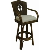 "Lucaya Indoor Swivel Rattan and Wicker 30"" Bar Stool in TC Antique"