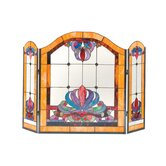 Anemone 3 Panel Glass Fireplace Screen