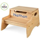 Personalized Step N' Store Stool in Natural