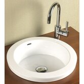 Round Semi Recessed Ceramic Vessel Sink with Overflow in White