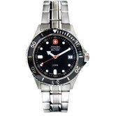 Alpine Diver Military Wrist Watch with Black Dial and Bracelet