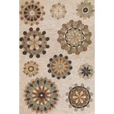 Milan Beige Retro Flora Rug