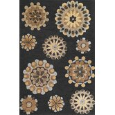 Milan Charcoal Retro Flora Rug