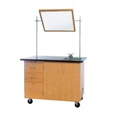 Mobile Instructor's Desk With Drawers and Center Storage, 48&quot;W x 28&quot;D x 36&quot;H