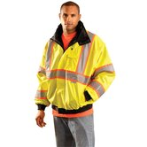 Hi-Viz Yellow PVC Coated Polyester ANSI Class 3 Occulux Bomber Jacket With Two-Tone Yellow And Silver 3M™ Reflective Strpes And Nylon Lining