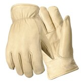 Large Bucko Grain Cowhide Fleece-Over-Foam Lined Gunn Cut Drivers Gloves With Keystone Thumb, Double Shirred Wrist And Self Hemmed