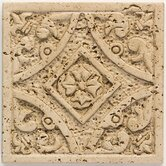"Accent Statements 4 1/4"" x 4 1/4"" Travertine Filigree Insert"