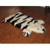 Designer Stripe Bear Ivory/Black Animal Rug