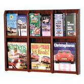 Six Magazine and Twelve Brochure Oak and Acrylic Wall Display