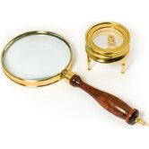 Brass Magnifier Telescopes Set: 3 Power, 90mm hand-held magnifier and 40mm table magnifier