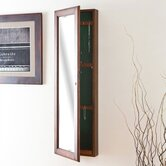 "Billock 48"" High Wall Mount Jewelry Mirror in Warm Walnut"