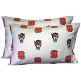 North Carolina State Wolfpack Pillow Case Set in White