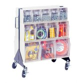 24&quot; Mobile Double Sided Floor Stand Storage Unit with Tip Out Bins
