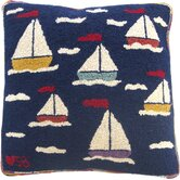 "Sail Away Square: 18"" x 18"" - Blue Novelty Pillow"
