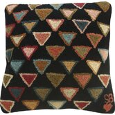 "Triangles Square: 18"" x 18"" - Black Pillow"