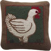 "Fly the Coop Square: 18"" x 18"" - Green Hen Pillow"