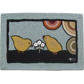 Baby Chicks: 2' x 3' - Blue Rug