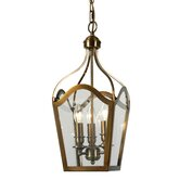 Three Light Hanging Lantern in Antique Brass