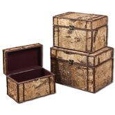 Birch Bark Boxes in Wood - Set of 3