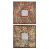 Colorful Flowers Mirrors in Antiqued Gold - Set of 2