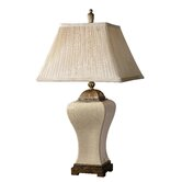 Ivan Table Lamp in Heavily Crackled and Aged Ivory Glaze