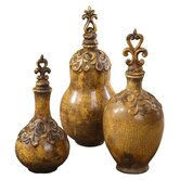 Three Piece Asita Yellow Bottle Set in Heavily Distressed Antiqued Crackled Golden Yellow